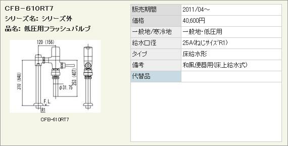LIXIL・リクシル トイレ 低圧用フラッシュバルブ(節水形) 【CFB-610RT7】 床給水形フラッシュバルブ(バキュームブレーカー付) 和風便器用 INAX