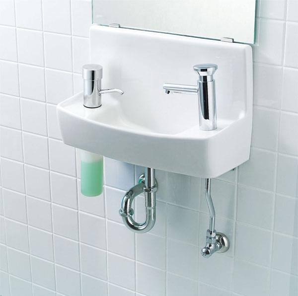 【L-A74A2C】 LIXIL・リクシル トイレ用手洗い器 自動水栓(100V) 水石けん入れ付タイプ 壁給水・壁排水 ハイパーキラミック INAX