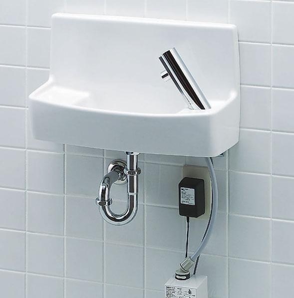 【L-A74AD】 LIXIL・リクシル トイレ用手洗い器 自動水栓(100V) 床給水・壁排水 ハイパーキラミック INAX