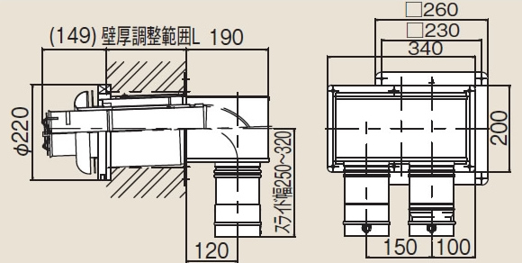 リンナイ φ100KP部材【FFTL-10-300C】φ100 2本管直出給排気トップ(24-3768)【FFTL10300C】 給湯器