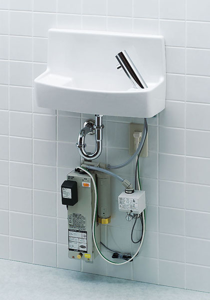 【L-A74WC】 LIXIL・リクシル トイレ用手洗い器 温水自動水栓(100V) 壁給水・壁排水 ハイパーキラミック INAX