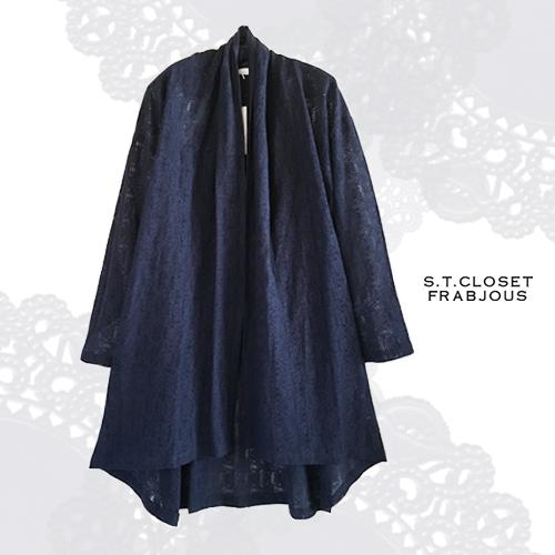 s.t.closet frabjous(エスティークローゼットフラビシャス) レースストール風カーディガン ネイビー コットン レース ナチュラル服