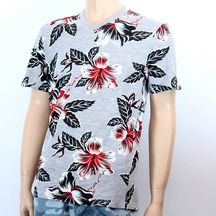 【売れ筋】HYDROGEN VネックTシャツ ボタニカルTシャツ レッド×グレー ハイドロゲン 160002 904 RED FLOWERS/GREY MELANGE メンズ【新品・未使用・正規品】【あす楽対応】売れ筋