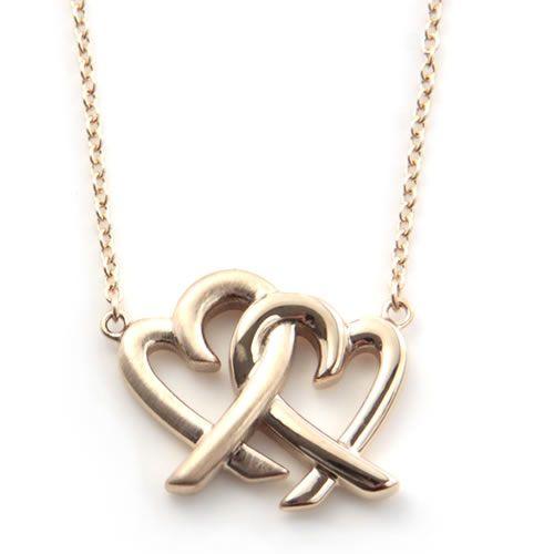 8cb66fdb8 Tiffany Paloma Picasso loving heart interlocking pendant necklace 18 in  18KRG 32080359 ...