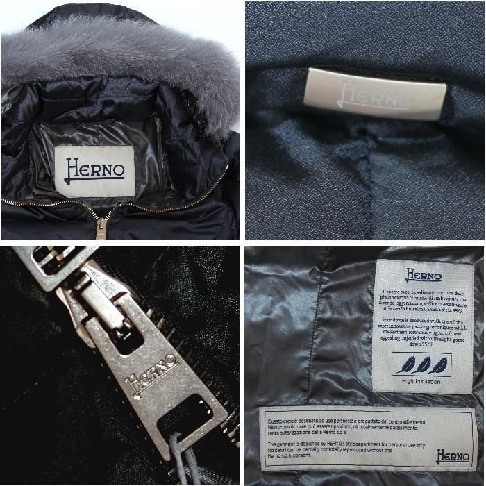 HERNO PI0377D13116 9450 女式羽绒服此处黑色羽绒服与食物狐狸毛皮板标志