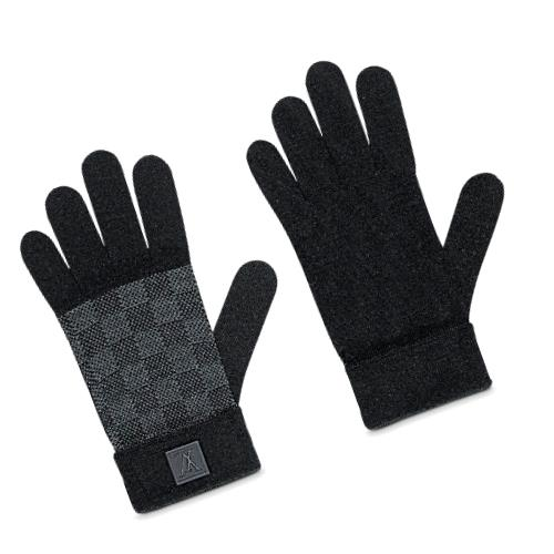 LOUIS VUITTON ルイ ヴィトン 手袋 グローブ M70006 ノワールブラック ウールニット ゴン プティ ダミエ メンズ【新品・未使用・正規品】