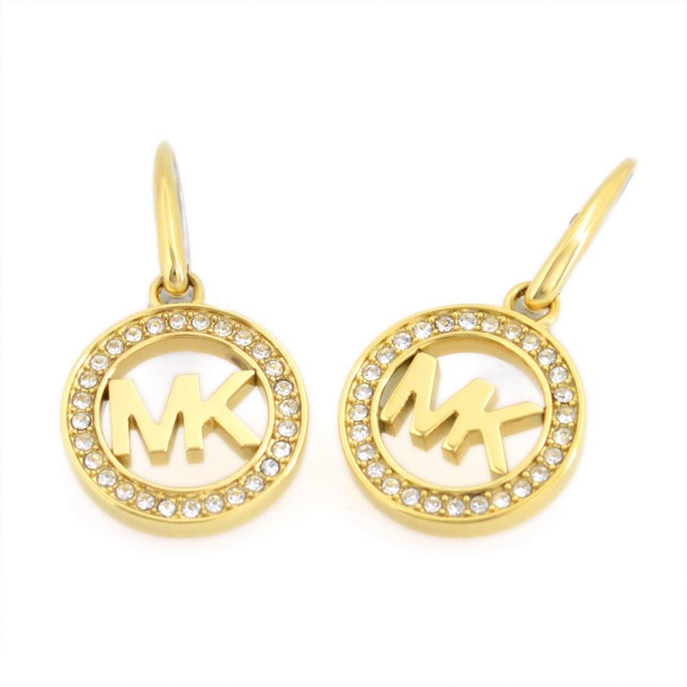 Michael Kors Mkj4794710 Pave Gold Tone Fulton Logo Open Earrings Mk