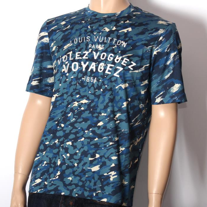 LOUIS VUITTON ルイヴィトン限定 半袖Tシャツ ブルーカモフラ迷彩 モノグラム 1a192 メンズ コレクション【新品・未使用・正規品】売れ筋