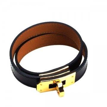 HERMES エルメスケリー レザーブレスレットH068438CC KELLY ブラック ゴールド金具【新品・未使用・正規品】