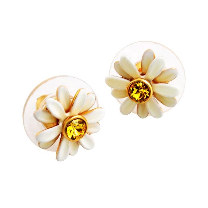 Kate Spade Wbrub941 194 White Multi Dazzling Daisies Studs Daisy Motif Stud Earrings