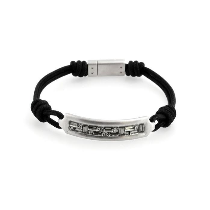 Swarovski Men Collection 5191870 Emblem Cord Baguette Cut Crystal Bracelet