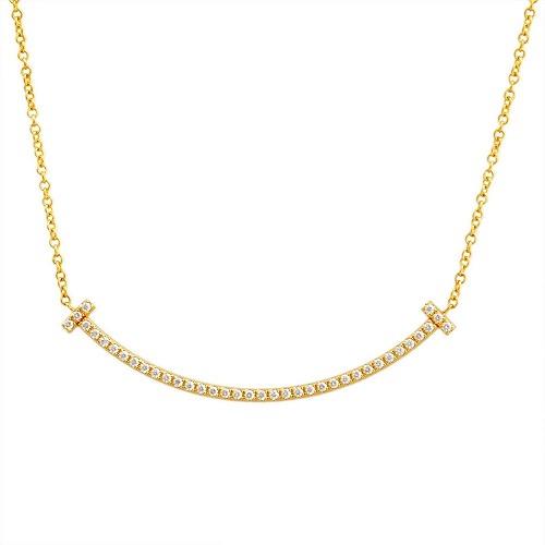 ティファニー TIFFANY&CO 34684456 Tiffany T スマイル ダイアモンド ペンダント ミニ 0.01ct 18KYG ネックレス【r】【新品・未使用・正規品】