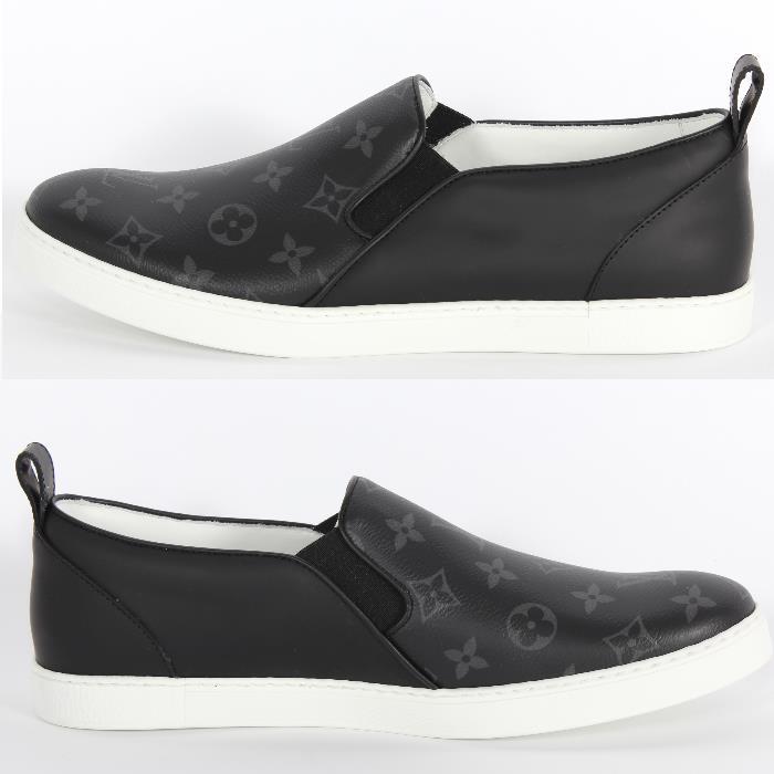 louis vuitton shoes for men black. louis vuitton louis vuitton monogram eclipse slip-ons 1a21x5 black monogram-limited shoes men for