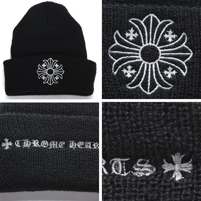 767636176 CHROME HEARTS chrome Hertz wool knit hat black CH cross buck logo 2238-304-4100  hat cap