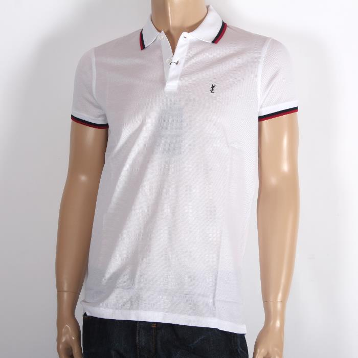 b8520e85852 SAINT LAURENT PARIS Saint-Laurent short sleeves polo shirt 343675 Y2TD1  9010 white fawn men ...
