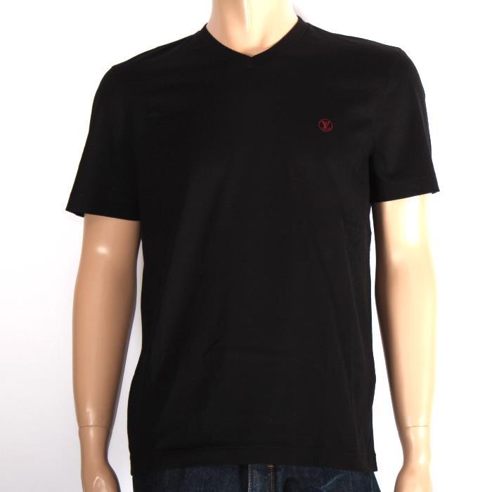 LOUIS VUITTON ルイヴィトン 半袖VネックTシャツ 1A1PGC ブラック×レッドLV刺繍 メンズ【新品・未使用・正規品】売れ筋