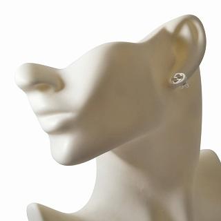 a3a797fe5 ... Gucci GUCCI 479227-J8400-8106 interlocking grip G silver stud bolt  pierced earrings