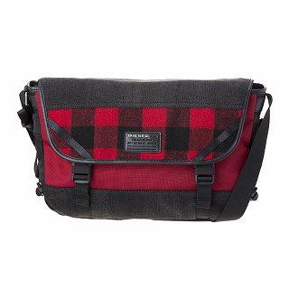 DIESEL ディーゼル X04600 P1426 H6049 Grey denim-Red tartan 斜めがけショルダーバッグ【c】【新品/未使用/正規品】