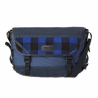 DIESEL ディーゼル X04600 P1426 H6476 Blue tartan-Blue denim 斜めがけショルダーバッグ【c】【新品/未使用/正規品】
