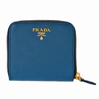 プラダ PRADA 1ML522 S/ME/AZZURRO 二つ折り財布ブルー ●【新品・未使用・正規品】