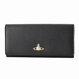 ヴィヴィアン ウエストウッド Vivienne WestWood 51040001 40153 BLACK SAFFIANO 二つ折り長財布【r】【新品・未使用・正規品】