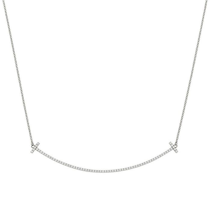 ティファニー TIFFANY&CO 34946051 Tiffany T スマイル ペンダント ネックレス 18KWG×ダイアモンド 41cm~46cm【r】【新品・未使用・正規品】