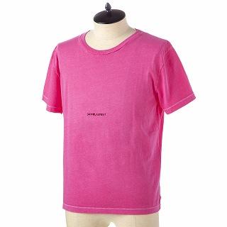 SAINT LAURENT PARIS サンローラン Tシャツ 548037 YBDV2 6469 FUSCHIA-NOIRピンク【c】【新品・未使用・正規品】