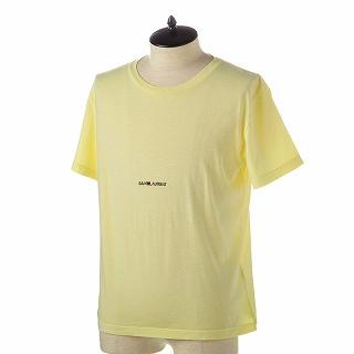 SAINT LAURENT PARIS サンローラン Tシャツ 548037 YBDV2 7440 JAUNE PALE-NOIRイエロー【c】【新品・未使用・正規品】