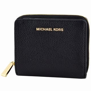 マイケルコース MICHAEL KORS 34F9GJ6Z8L 001 BLACK 二つ折り ミニ財布【c】【新品/未使用/正規品】