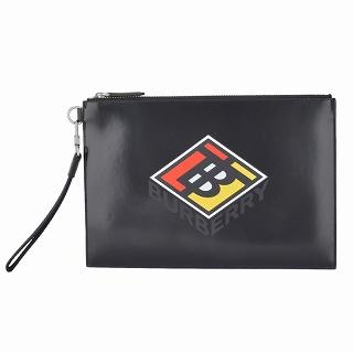 バーバリー BURBERRY 8021769 BLACK ロゴグラフィック クラッチバッグ ハンドポーチ FLAT POUCH【r】【新品・未使用・正規品】