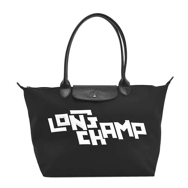 ロンシャン 1899438067 LEPLIAGELGPSTAMP BKWTトートバッグ【】【新品/未使用/正規品】
