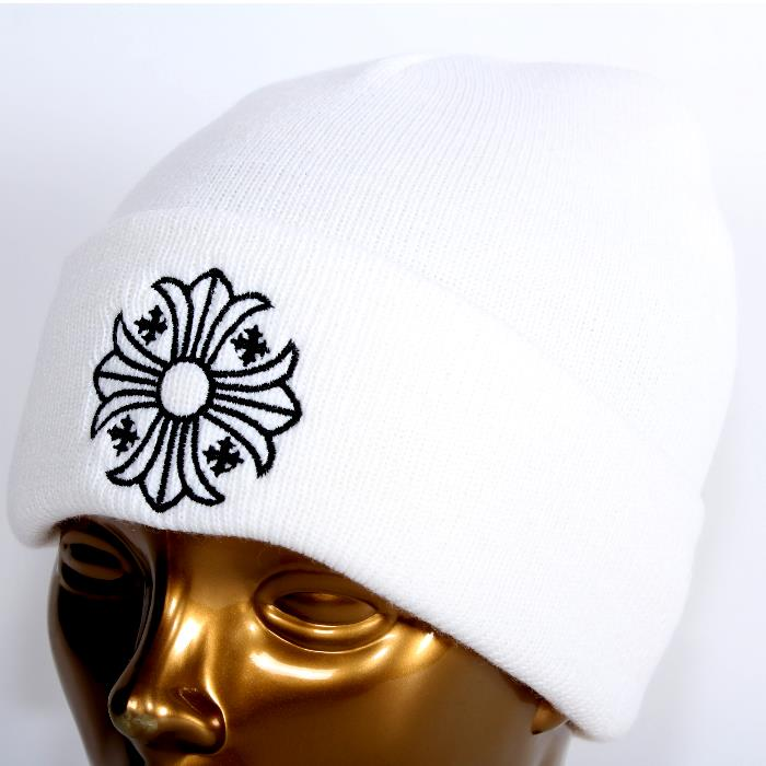 【売れ筋】CHROME HEARTS クロムハーツ ウール ニット帽 ホワイト CHクロス バックロゴ2238-304-4200 帽子キャップ【新品・未使用・正規品】