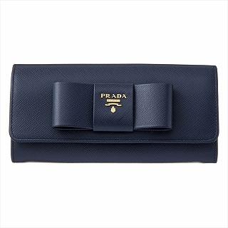 プラダ PRADA 1MH132 ZTM F0216 長財布 ネイビー リボン【c】【新品/未使用/正規品】