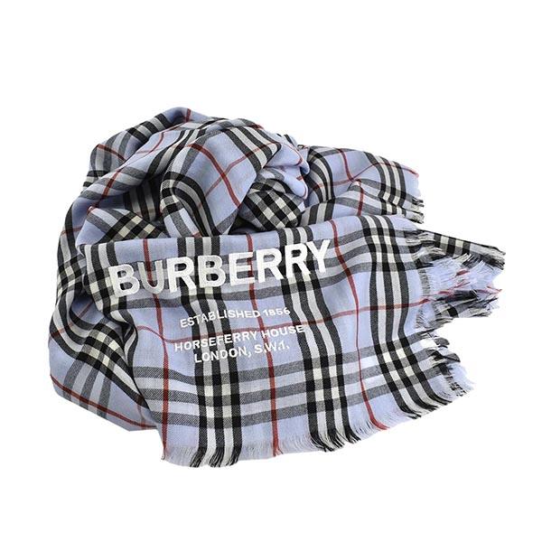 バーバリー 8011094 ストール L.BL A1397ブルー カシミア スカーフ【新品/未使用/正規品】