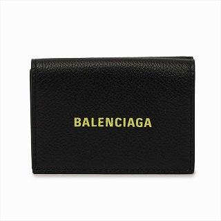 バレンシアガ BALENCIAGA 594312 1IZF3 1072 三つ折りミニ財布 ブラックイエローロゴ【c】【新品/未使用/正規品】