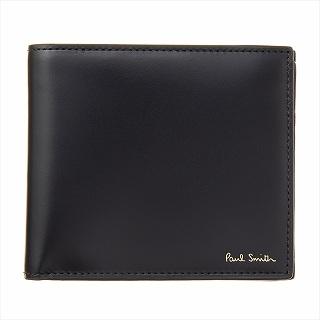 ポールスミス PAUL SMITH M1A 4833 A40017 79-Black 二つ折り財布 ブラック【c】【新品/未使用/正規品】