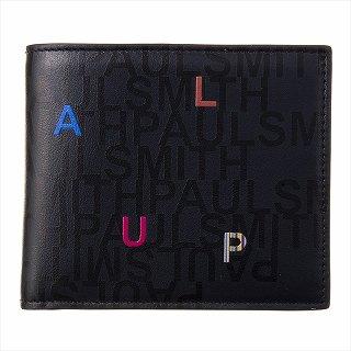 ポールスミス PAUL SMITH M1A 4833 A40597 PR-Printed 二つ折り財布 ブラック【c】【新品/未使用/正規品】