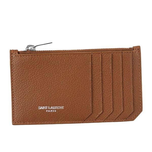 SAINT LAURENT サンローラン 458583 B680N 2539 ポーチ CA/BRブラウン カードケース【】 【新品・未使用・正規品】