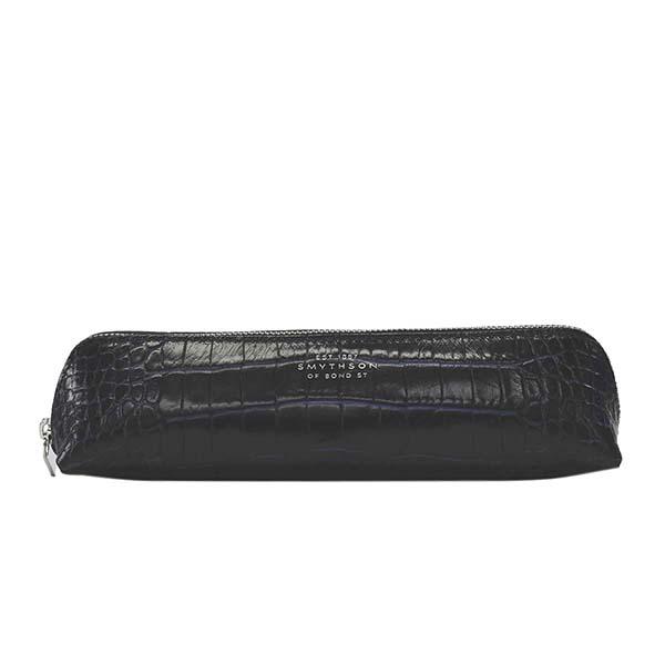スマイソン 1018821 MARA ペンケース NAVYネイビークロコ型押 筆箱【】【新品/未使用/正規品】