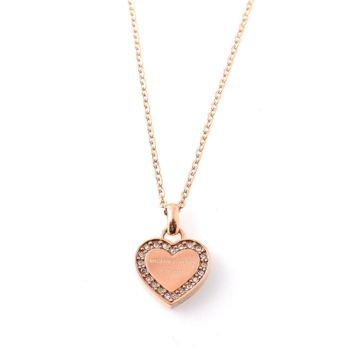 9964c1545d88 Michael Kors MICHAEL KORS pave heart charm necklace   pendant Pave Rose  Gold-Tone Heart Charm Pendant Necklace MKJ3971791 necklaces