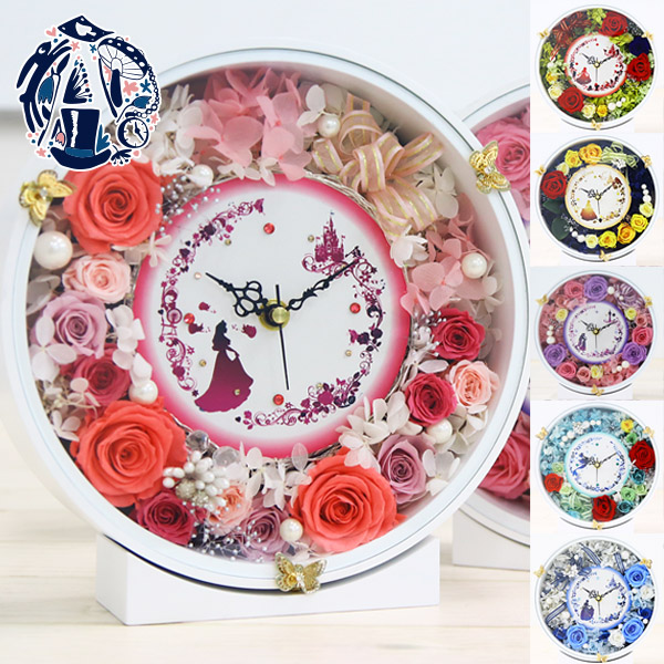 4ed32a4667 プリザーブドフラワー 時計 花時計 プレゼント おしゃれ 花 掛け時計 花 おしゃれ ピンク 木製 かわいい 北欧 カラフル
