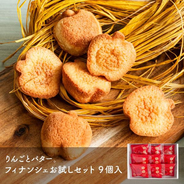 優しいりんごの香りと バターの風味が豊かなフィナンシェ 再再販 メール便 ブランド品 りんごとバター 9個入 フィナンシェお試しセット mailbin
