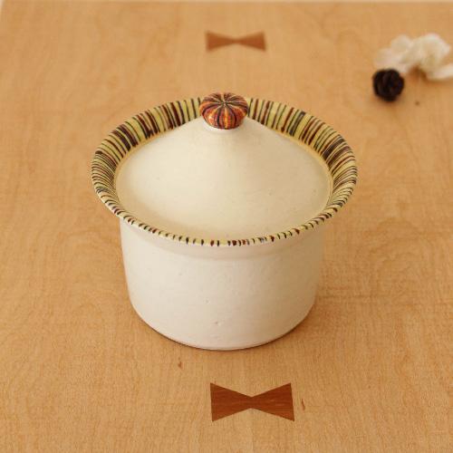 シュガーポット ふたもの 至上 白 ボーダー 陶器 砂糖入れ 廣川みのり シンプル かわいい 再入荷/予約販売!