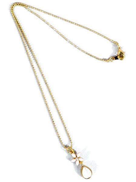 プルメシズクネックレス Kahiko ラッピング無料 公式 最新号掲載アイテム ハワイアン4KXZ2710クリアカラーの小さなプルメリアにしずく型のモチーフの華奢なネックレスです