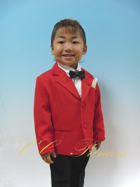 『サスペンダーサービス!赤のジャケットスーツ・4点セット≪CC-BY-003-R≫』 男の子、 キッズ、 子供スーツ、 フォーマル、 結婚式、 発表会、 レッド、 95・100・110・120・130 【CC-Princess】
