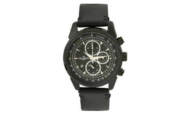 ≪安心の日本製≫クロノグラフ 腕時計 最高級イタリアンレザーベルト 紳士用GRANDEUR PLUS(グランドール プラス) 腕時計 黒文字盤(黒ベルト) [grp001b1]