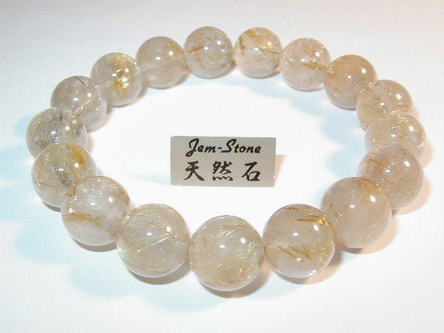 【数量限定】針水晶(ルチルクォーツ)12mm玉ブレスレット※キャンペーン価格につき数量限定とさせていただいております。