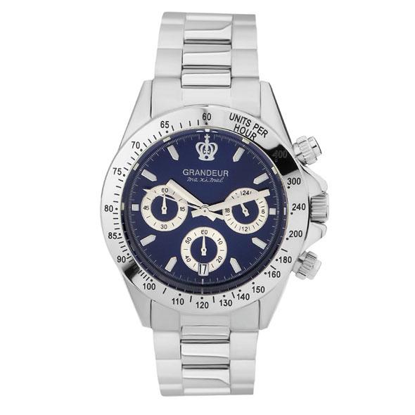 ≪日本製≫紳士用 クロノグラフ 腕時計 メタルバンド(金属バンド)メンズウォッチ クオーツGRANDEUR(グランドール) 腕時計 文字盤:青、クロノグラフ:白 [jgr004w10]