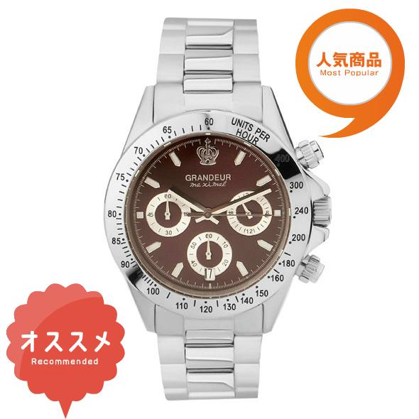 ≪日本製≫紳士用 クロノグラフ 腕時計 メタルバンド(金属バンド)メンズウォッチ クオーツGRANDEUR(グランドール) 腕時計 文字盤:赤、クロノグラフ:白 [jgr004w2]