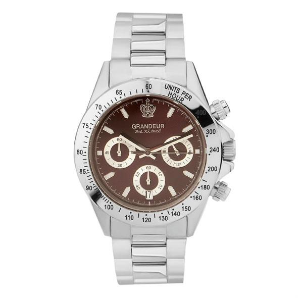 ≪日本製≫紳士用 クロノグラフ 腕時計 メタルバンド(金属バンド)メンズウォッチ クオーツGRANDEUR(グランドール) 腕時計 文字盤:赤、クロノグラフ:白 [jgr004w7]